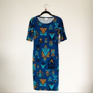 Lularoe Blue Teal Aztec Tribal Print Julia Dress